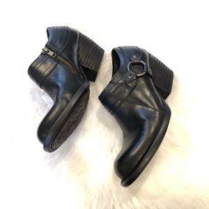 Born Black Peck Leather Slip On Ankle Bootie
